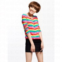 Rainbow Round Neck Long Sleeve Dress - Women's Dresses - Apparel