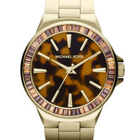 Michael Kors Mid-Size Golden Stainless Steel Gramercy Three-Hand Glitz Watch