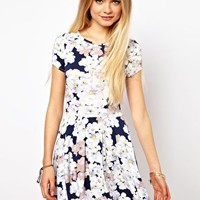 ASOS Skater Dress In Pansy Floral Print at asos.com