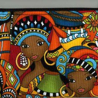 COLORFUL AFRICAN WOMEN Fabric Zippered Coin Purse Ipod | HandmadebyMomNMe - Bags & Purses on ArtFire