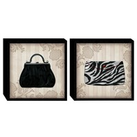 Illuminada - Glamour Purses in B&W (Set of 2) Wood Art (2064) - Wall Art
