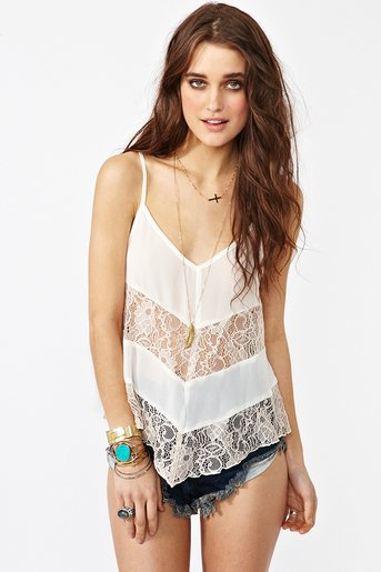 Laced Chiffon Tank - Ivory in Clothes at Nasty Gal