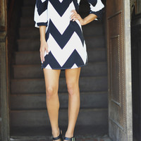 Wild Wide Chevron Dress: Black | Hope&#x27;s