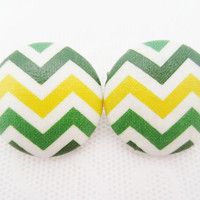 Chevron Button Earrings Green Yellow Native Print by madewithhope