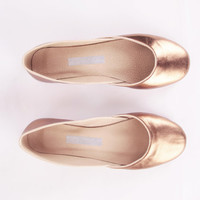 up-cycled leather ballet flats. cleopatra.