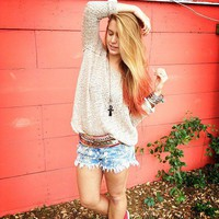Lace Back Oversized Pullover style pic on Free People