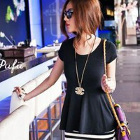 SHORT SLEEVE STRIPE PEPLUM STYLE DRESS