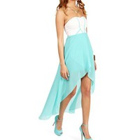 Mint Strapless Sweetheart Hi Lo Dress
