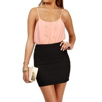Peach/Black Lace Colorblock Dress