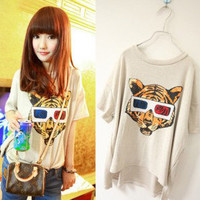 Short Sleeve Round Neck Tiger Pattern Women T-shirt at Online Apparel Store Gofavor