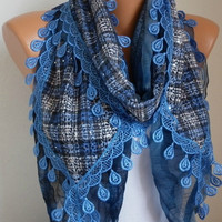 Blue Plaid Scarf Sequin Flowers Scarf -  scarf shawl -  - Free scarf - Blue - fatwoman