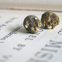 Gold Druzy Stud Earrings, Small Round Druzy, Drusy Cabochon, Raw, Stone