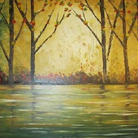 Golden Woods Original Oil Painting Made With Palette Knife On 16 x 20 stretched Canvas