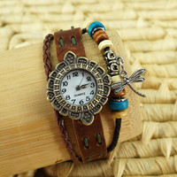 Handmade Leather Strap Bracelet Watch with a Dragonfly Pendant