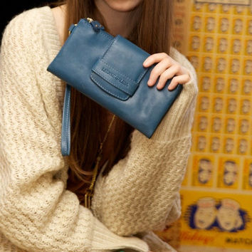 Alandria leather wallet and clutch. Handmade  real leather. Turquoise blue leather