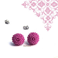 Mini Berry Mum Posts. Resin Flower Studs. Spring Fashion Earrings