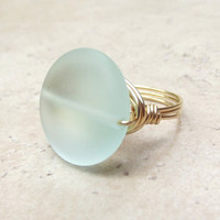 Light Aqua Sea Glass Ring:  Brass Wire Wrapped Ring, Seafoam Green, Mint Green Beach Jewelry