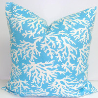 Aqua Pillow.Coral.18 x 18 inch.Printed Fabric Front and Back.Indoor/Outdoor.Home Decor Accessories.Beach Decor