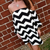 Chevron Off-The-Shoulder Dress | The Rage