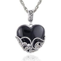 Sterling Silver Marcasite and Onyx Heart Pendant, 18""