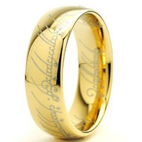 LORD OF THE RINGS High Polish Gold Plated Tungsten Carbide Ring 7MM Size 10