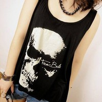 Loose Sleeveless Skull Tassel Vest Top at Online Apparel Store Gofavor