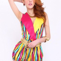 Retro Lapel Color Stripes Rompers$52