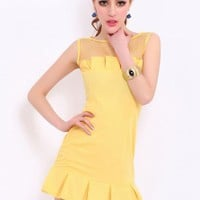 Retro Stitching Gauze Dress$49
