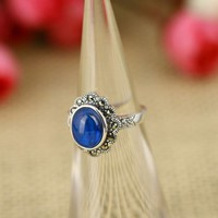 Vintage Style Oval Shape Blue Corundum 925 Sterling Silver Ring
