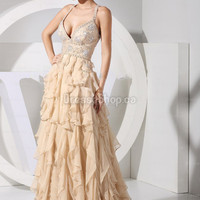 A-line Straps Chiffon Sweep Train Champagne Tiered Prom Dress at Dresseshop.ca
