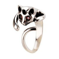 925 Sterling Silver Cat Ring