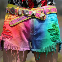 amazinglife — Handmade Tie-dyed Rainbow Gradient Denim Shorts
