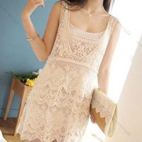 Fashion Sexy Floral Lace Crochet Tee Dress Tank Top Skirt T Shirt Blouse Vintage