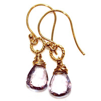 Rose De France Pink Amethyst Earrings Gold Vermeil Delicate Gemstone Jewelry