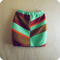 Organic Cotton Mini Skirt High Waist Chevron Colorblock