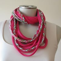 Braided T Shirt Scarf, Infinity Jersey TShirt Scarf, Fabric Necklace, Pink and Green