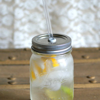 $14.00 Mason Jar  Eco Friendly Tumbler  (ReUsable To-Go Cup & Straw) by PoppyandPearlCo