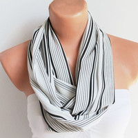 Black and White Striped Infinity Scarf Loop Scarf Circle Scarf Cowl Scarf Soft and Lightweight