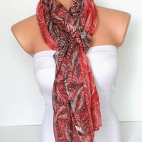 Red Striped Shawl Scarf Gauze Scarf