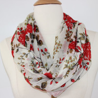 Red Floral Infinity Scarf - Handmade Circle Scarf - Statement Wear - Women&#x27;s Accessory - LightWeight Loop Scarf