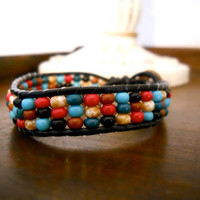 Beaded Leather Bracelet by ma1010 on Etsy