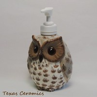 Owlet Ceramic Pump Dispenser for Liquid Soap Lotion Hand Sanitizer