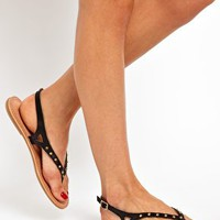 Warehouse Salina Black Thong Sandals at asos.com