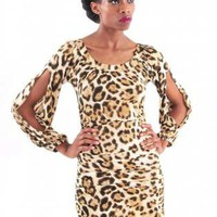 Leopard Print Open Sleeve Bodycon Dress