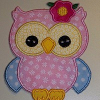 Adorable girl owl applique iron on patch
