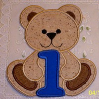 Birthday Teddy Bear with number one candle iron on patch