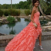 Orange Ball Gown Sweetheart High-low Asymmetrical Prom Dressess from prom 2013