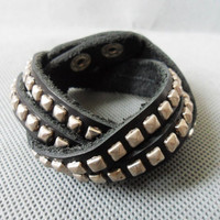 Adjustable handmade Black Leather stainless steel by sevenvsxiao
