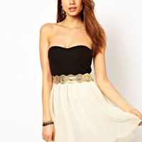 Paprika Bandeau Chiffon Prom Dress at asos.com