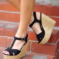 RESTOCK Little Bow Peep Wedges: Black | Hope's
